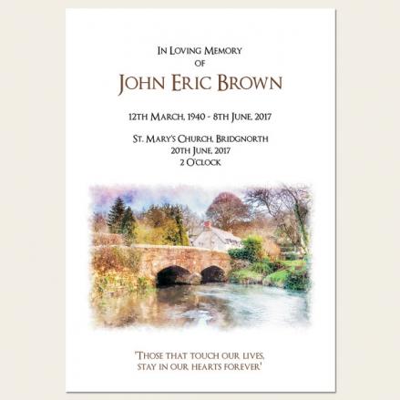 Funeral Order of Service - Watercolour River Scene