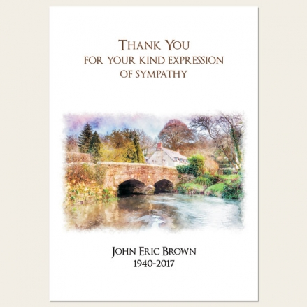 Funeral Thank You Cards - Watercolour River Scene