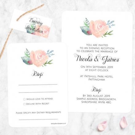 Watercolour Roses - Boutique Evening Invitation & RSVP
