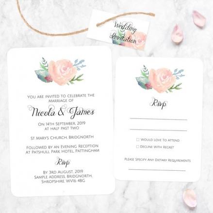Watercolour Roses - Boutique Wedding Invitation & RSVP