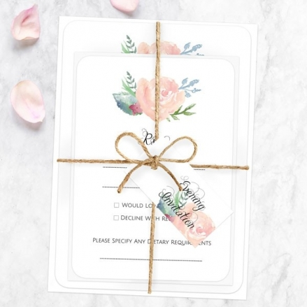 Watercolour Roses - Ready to Write Evening Invitations & RSVP