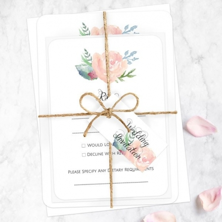 Watercolour Roses - Ready to Write Wedding Invitations & RSVP