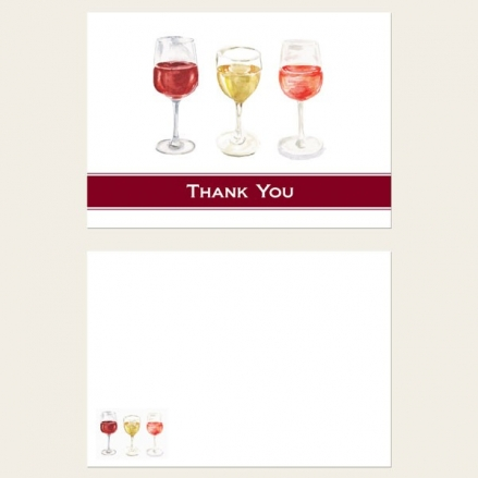 Ready to Write Thank You Cards - Watercolour Wine Glasses