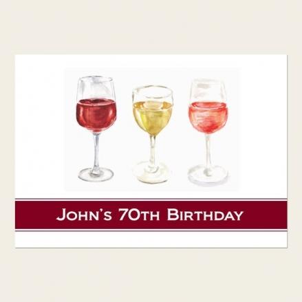 70th Birthday Invitations - Watercolour Wine Glasses