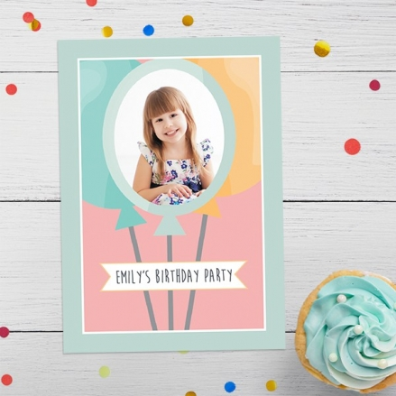 Personalised Kids Birthday Invitations - Girls Balloons Use Your Own Photo - Pack of 10