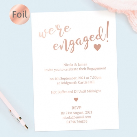 Foil Engagement Party Invitations - We're Engaged Typography