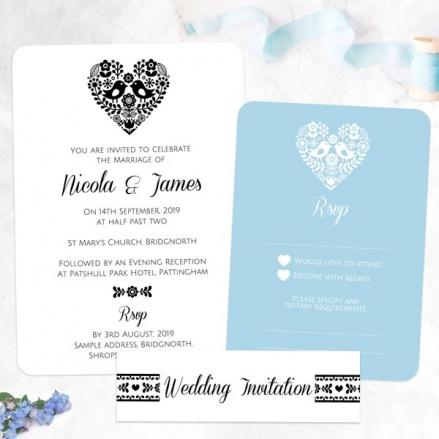 Bohemian Love Birds - Boutique Wedding Invitation & RSVP