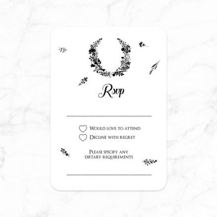 Boho Chalkboard Flowers - Wedding RSVP Cards
