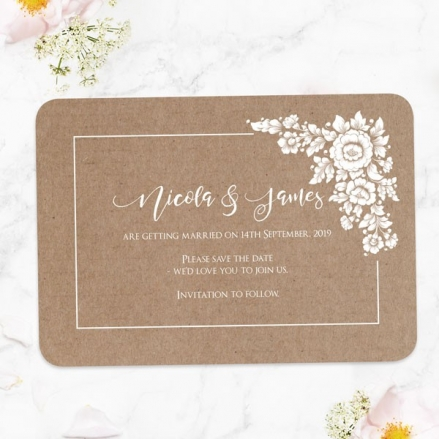 Romantic Flowers - Save the Date Cards