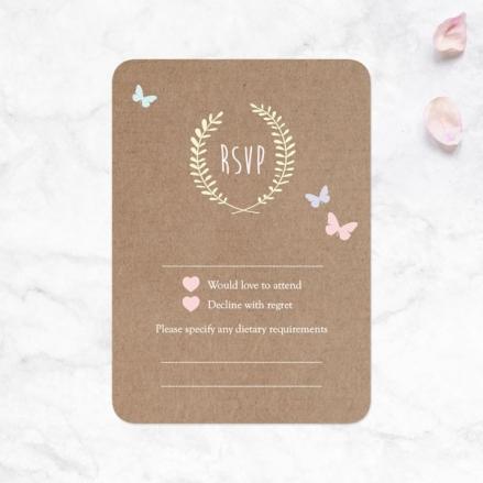 Rustic Pastel Butterflies - Wedding RSVP Cards