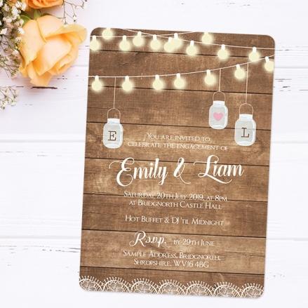 Engagement Party Invitations - Rustic Wood & Mason Jars