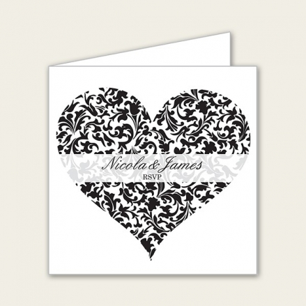 Heart Pattern - Wedding RSVP Cards