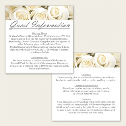 Cream English Rose - Guest Information