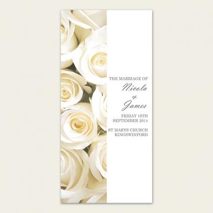 Cream English Rose - Order of Service Concertina