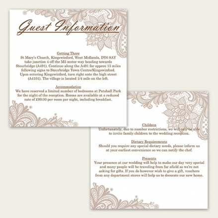 Victorian Lace - Guest Information