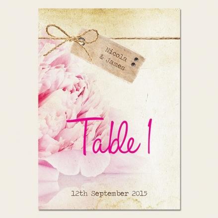 Vintage Peony - Table Name/Number