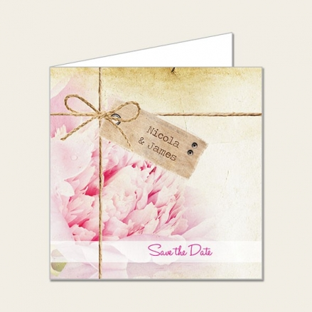 Vintage Peony - Save the Date Cards