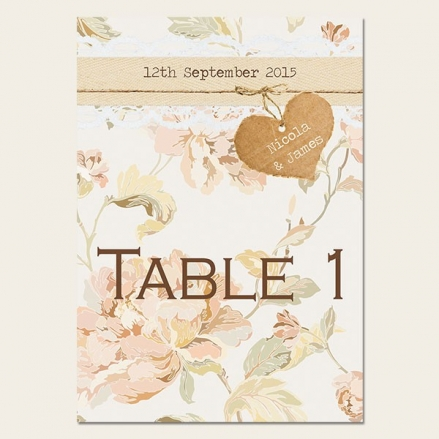 Shabby Chic Flowers - Table Name/Number
