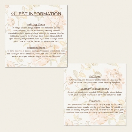 Shabby Chic Flowers - Guest Information