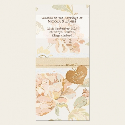 Shabby Chic Flowers - Order of Service Concertina