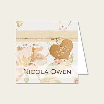 Shabby Chic Flowers - Wedding Place Cards