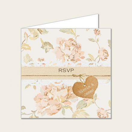 Shabby Chic Flowers - Wedding RSVP Cards