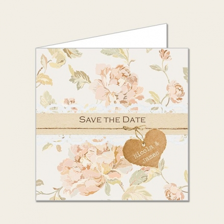 Shabby Chic Flowers - Save the Date Cards