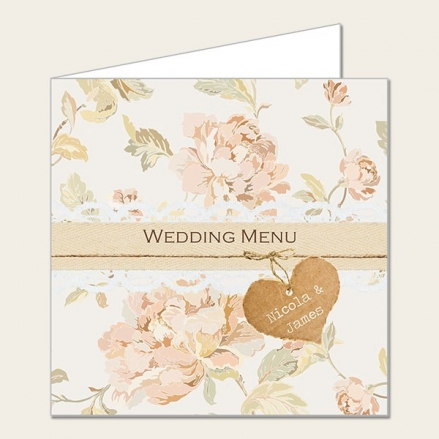 Shabby Chic Flowers - Wedding Menus