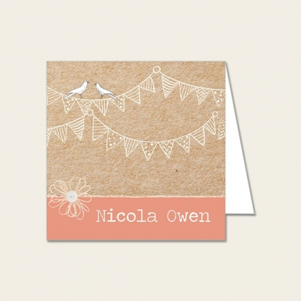 Vintage Bunting & Love Birds - Wedding Place Cards