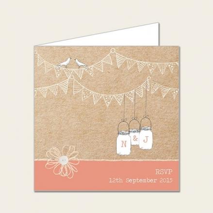 Vintage Bunting & Love Birds - Wedding RSVP Cards