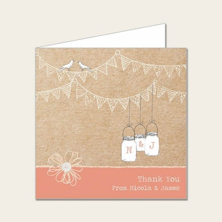 Vintage Bunting & Love Birds - Wedding Thank You Cards