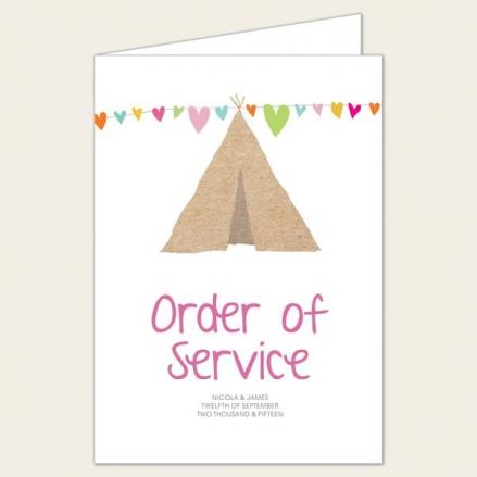 Festival Tipi - Wedding Order of Service