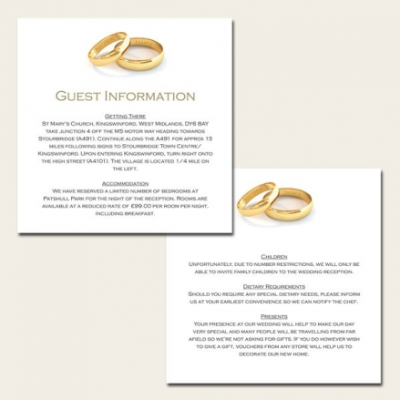 Add Your Names Gold Rings - Guest Information