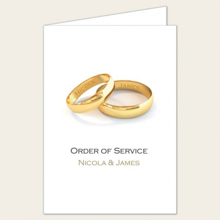 Add Your Names Gold Rings - Wedding Order of Service