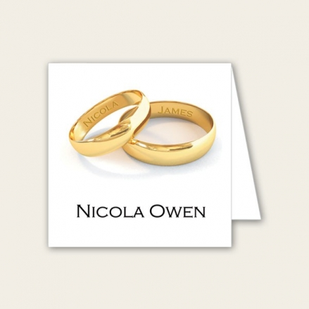 Add Your Names Gold Rings - Wedding Place Cards