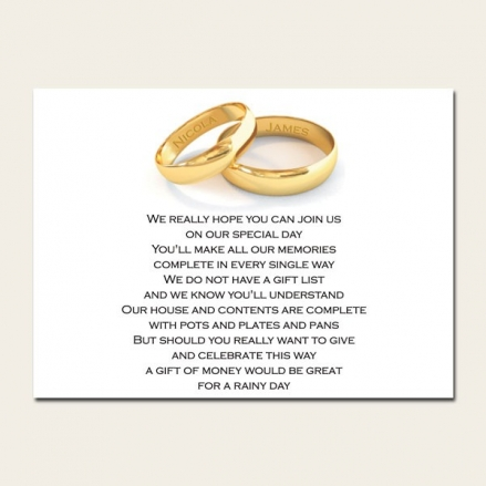 Add Your Names Gold Rings - Gift Poem Cards