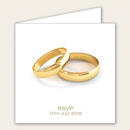 Add Your Names Gold Rings - Wedding RSVP Cards