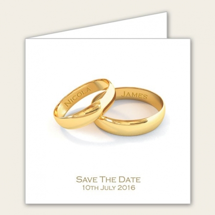 Add Your Names Gold Rings - Save the Date Cards