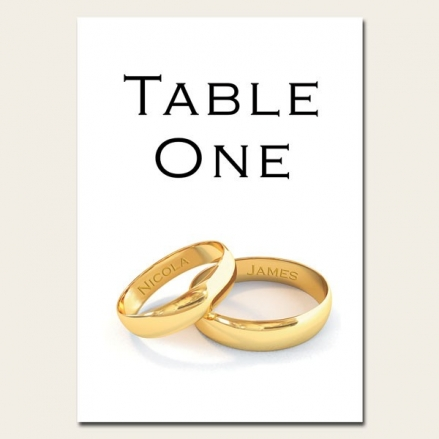 Add Your Names Gold Rings - Table Name/Number