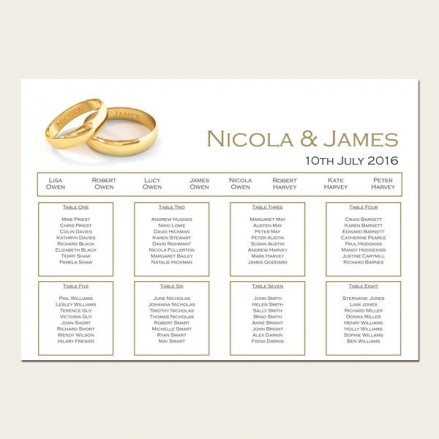 Add Your Names Gold Rings - Table Plan