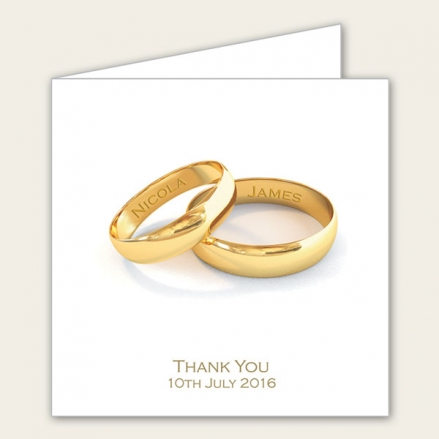 Add Your Names Gold Rings - Wedding Thank You Cards