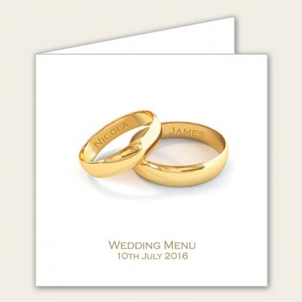 Add Your Names Gold Rings - Wedding Menus