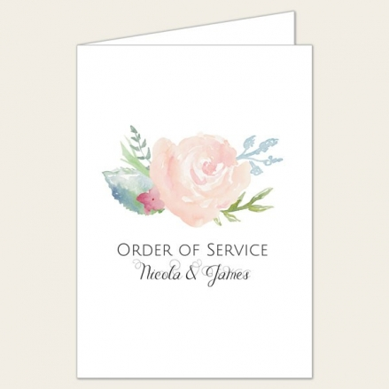 Watercolour Roses - Wedding Order of Service