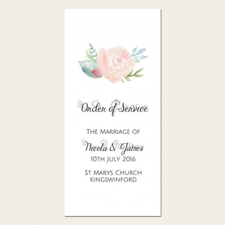Watercolour Roses - Order of Service Concertina