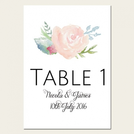 Watercolour Roses - Table Name/Number