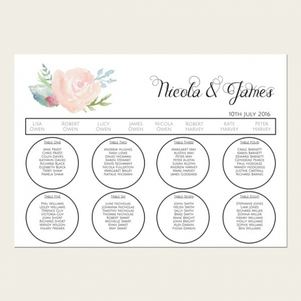 Watercolour Roses - Table Plan