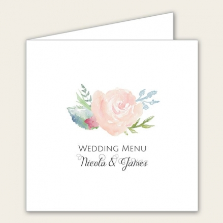 Watercolour Roses - Wedding Menus