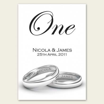 Add Your Names Silver Rings - Table Name/Number