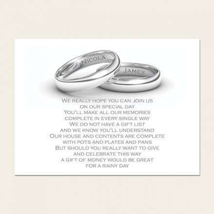 Add Your Names Silver Rings - Gift Poem Cards