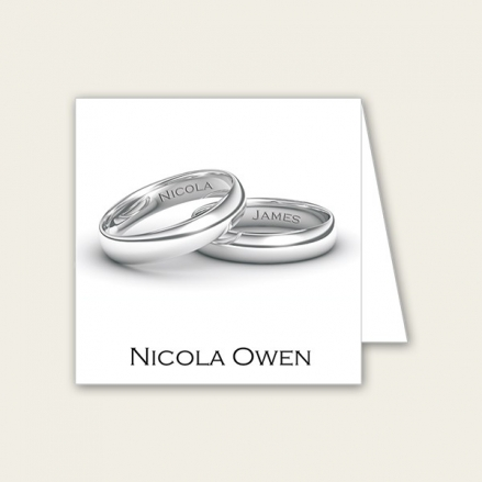 Add Your Names Silver Rings - Wedding Place Cards